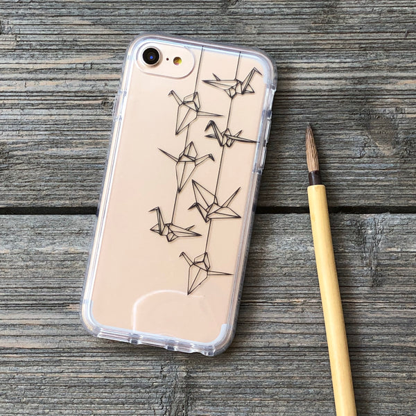 Origami Cranes Outline iPhone Case