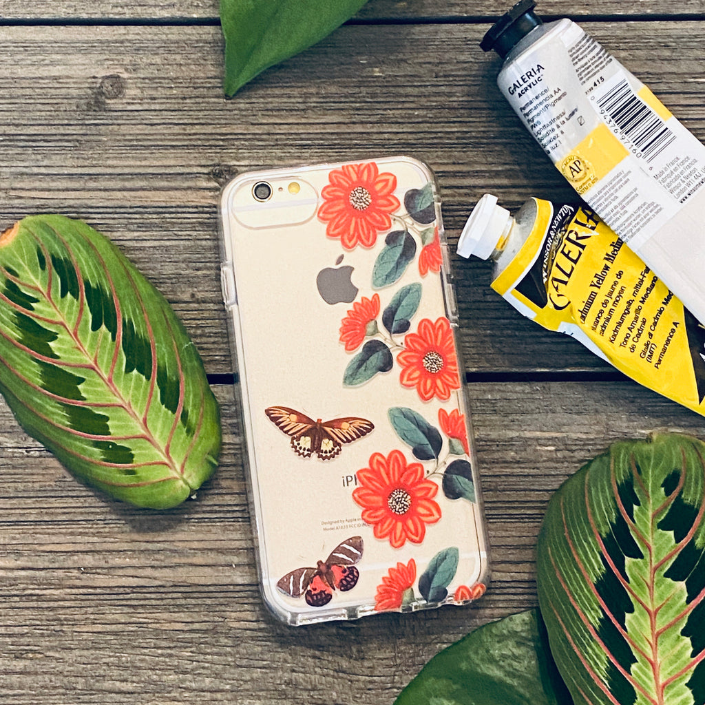 iPhone Case - Vintage Butterflies and Daisies
