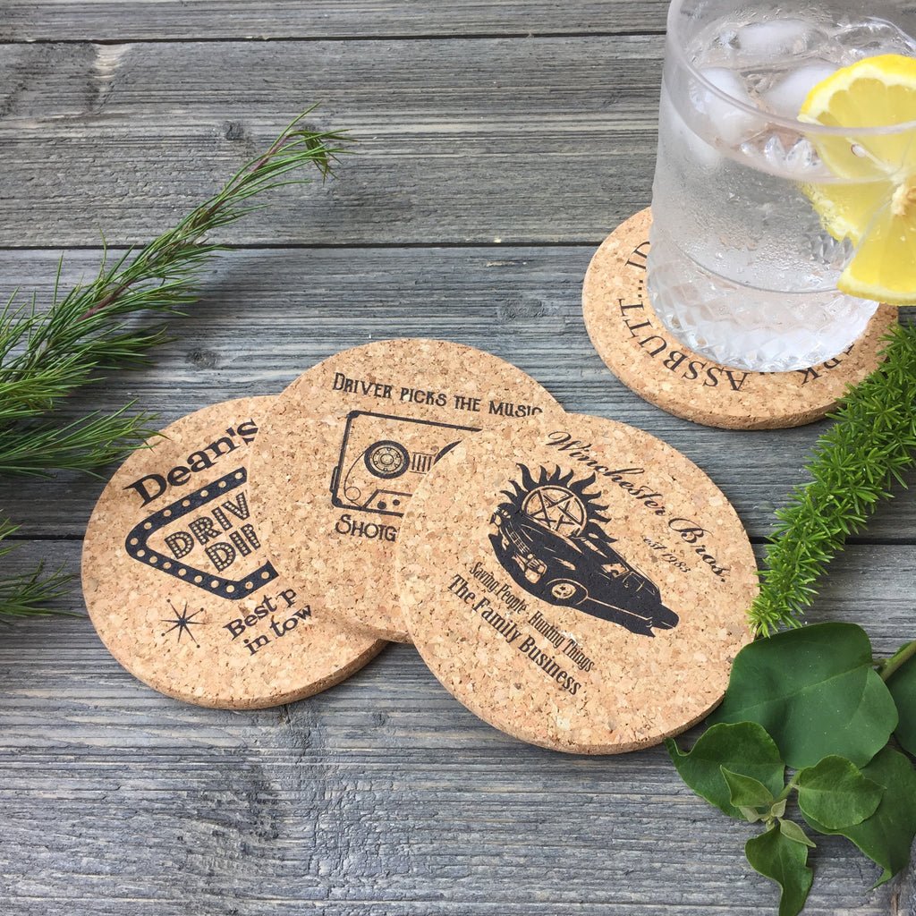 Supernatural Themed Cork Coaster Set of 4