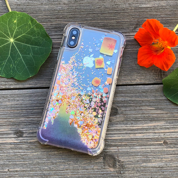 Floating Lanterns Rosy Glitter iPhone Case