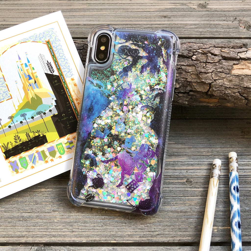 alice in wonderland glitter phone case