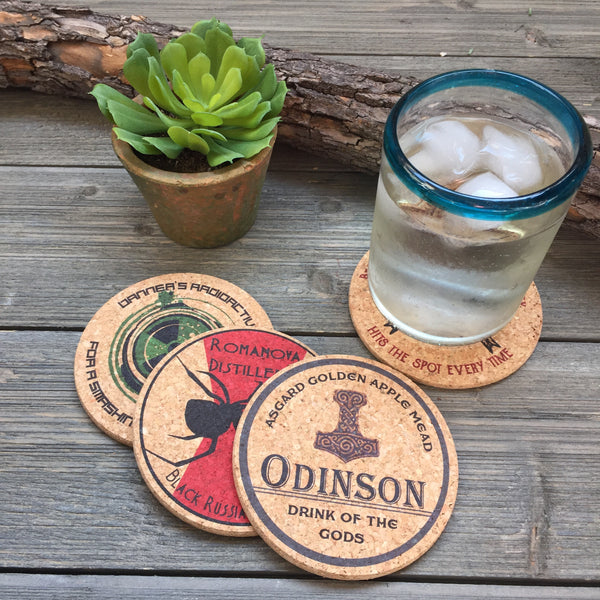Super Heroes Pub Style Cork Coaster Set of 4