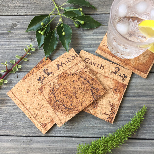 Map of Middle Earth Cork Coaster Set of 4