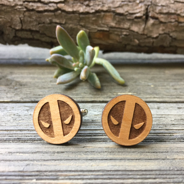 Deadpool Wooden Cufflinks