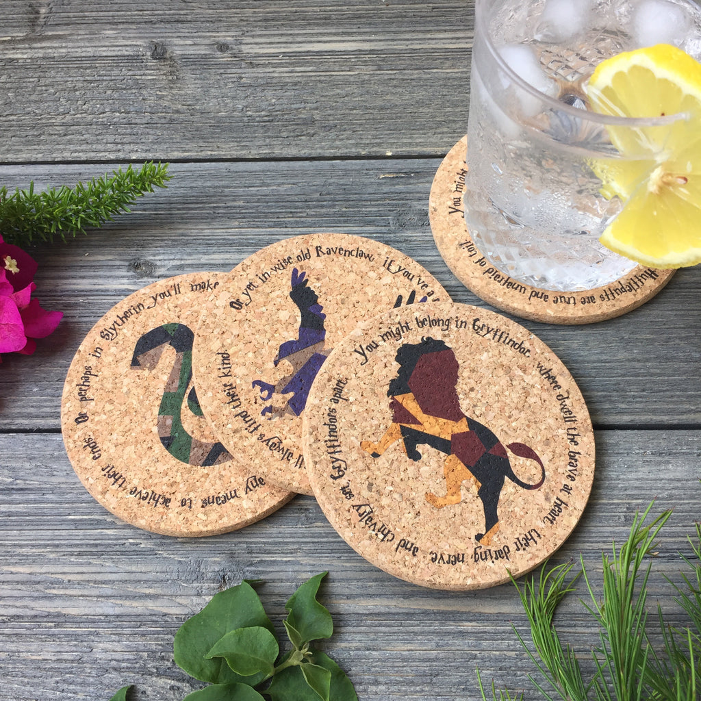 Wizarding Houses Themed Cork Coaster Set of 4