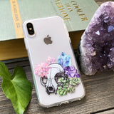 Cat Skull with Succulents and Crystals iPhone Case