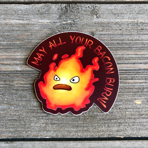 calcifer bacon burn vinyl sticker