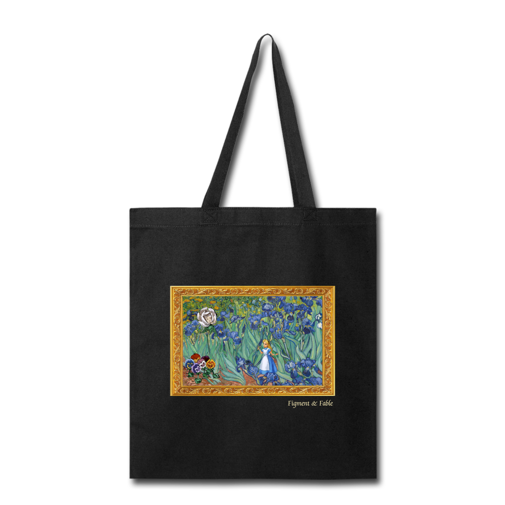 Alice in Van Gogh Land Canvas Tote - black