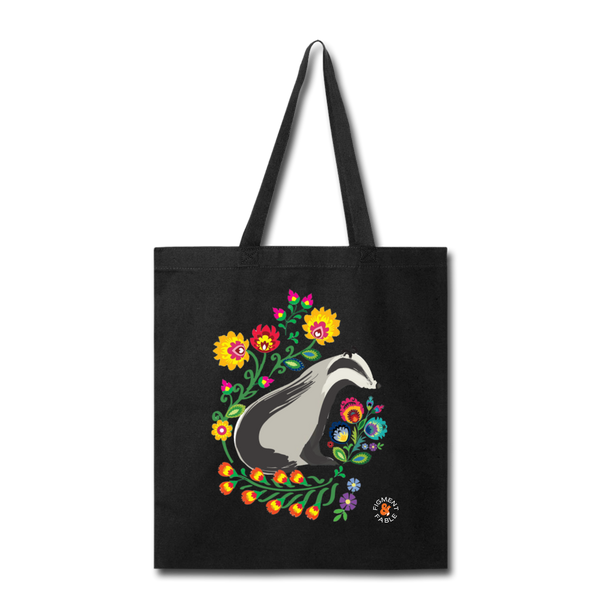 Badger Floral Canvas Tote - black