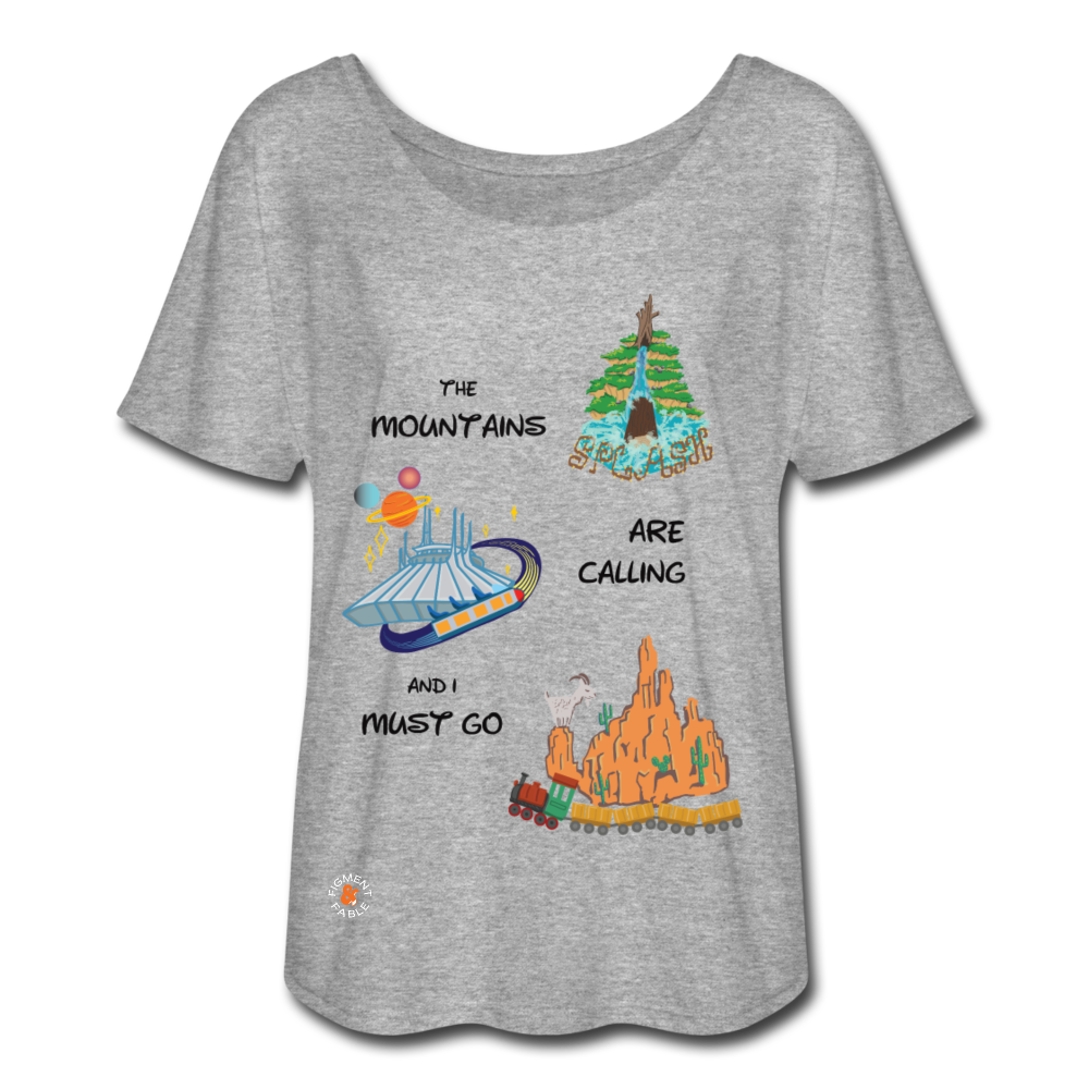 The Mountains are Calling Women's Flowy T-Shirt - heather gray