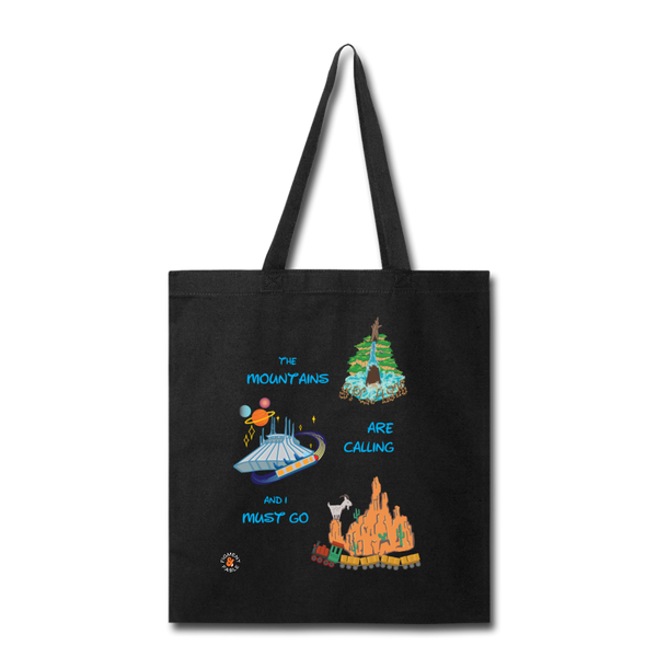 The Mountains are Calling Canvas Tote - black