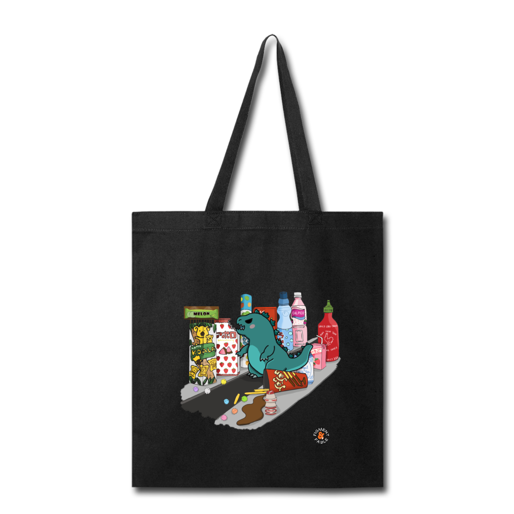 Snack Attack Canvas Tote - black