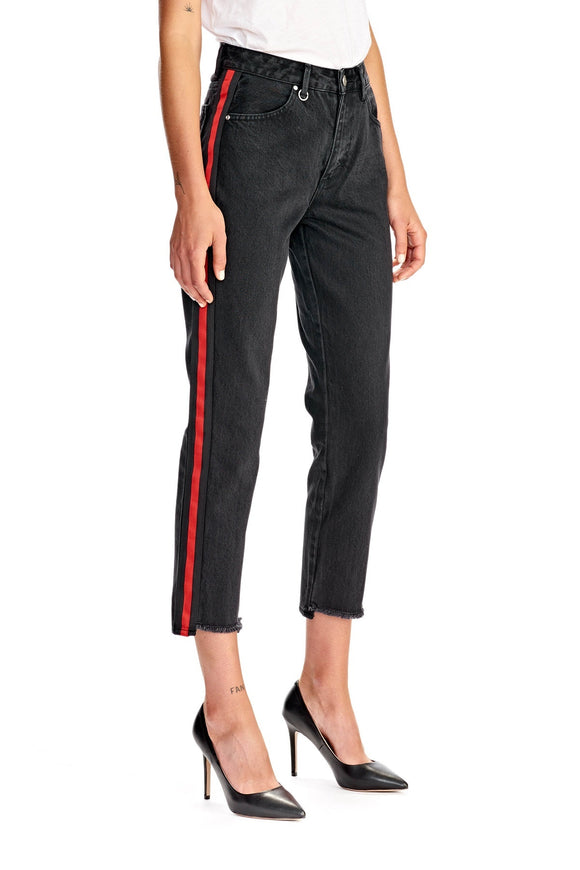 Neuw WOMENS LEXI SLIM STRAIGHT BLACK RED STRIPE
