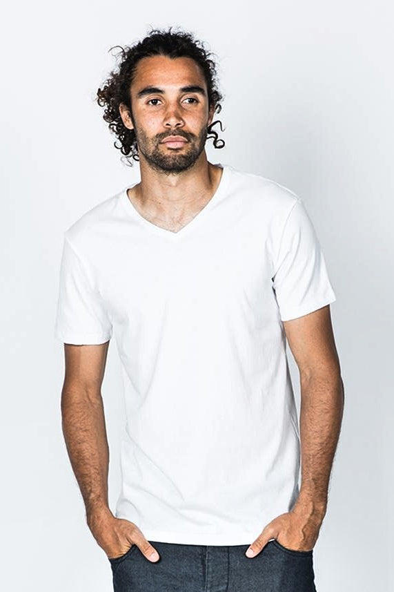 Casa Amuk MENS BASIC V NECK TEE WHITE