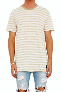 The People Vs 1CM STRIPE TEE BEIGE WHITE