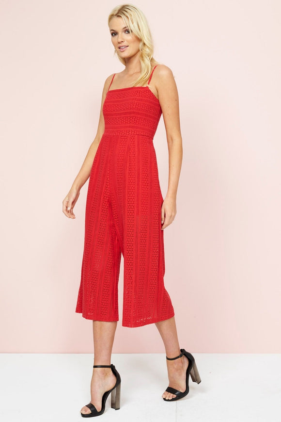 Mink Pink FIFTH AVENUE CROPPED JUMPSUIT CHERRY RED - Elwood 101