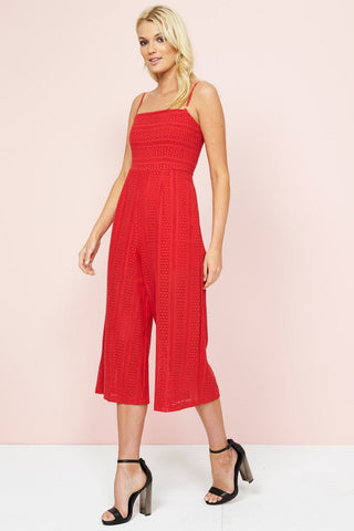 FIFTH AVENUE CROPPED JUMPSUIT CHERRY RED