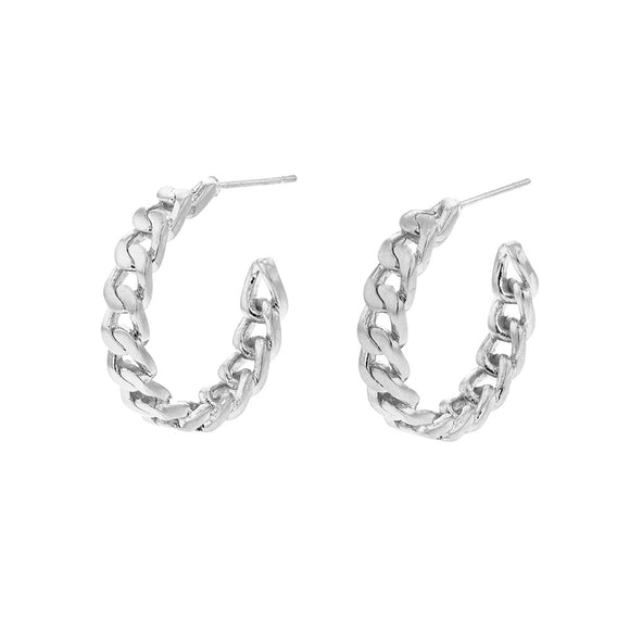 Jolie & Deen WOMENS VICKY CHAIN HOOPS EARRINGS - SILVER