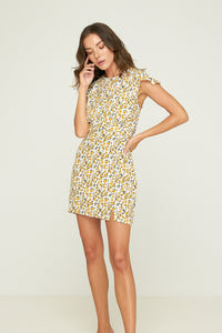 Rue Stiic WOMENS OSKAR MINI DRESS DESERT FLORAL - GOLDEN YELLOW - Elwood 101