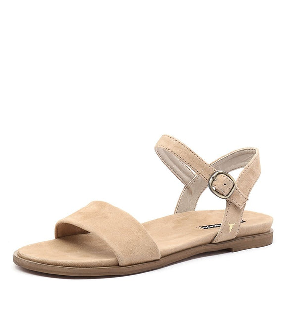 Windsor Smith WOMENS BAE CAMEL SUEDE LEATHER SANDALS