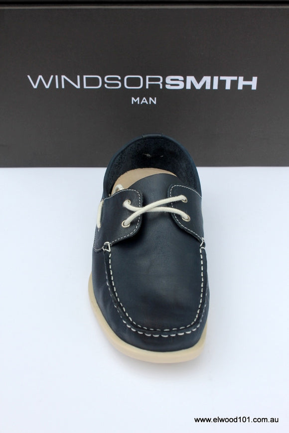 Windsor Smith MENS  MILLER LEATHER BOAT SHOE NAVY