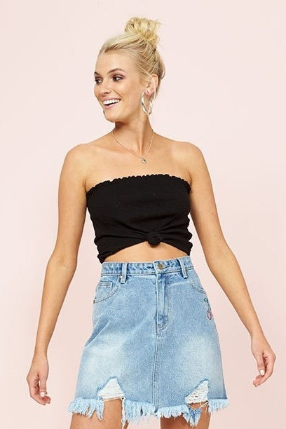MINK PINK BARDOT KNOTTED TUBE TOP BLACK