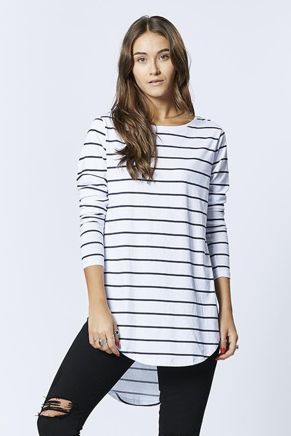 Casa Amuk WOMENS LONG SLEEVE TEARDROP TEE - CLASSIC STRIPE - Elwood 101