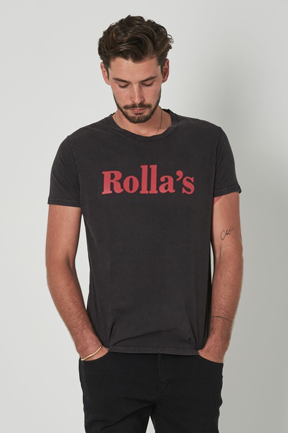 Rollas MENS ROLLA'S REDS BIG LOGO TEE BLACK STONE RED