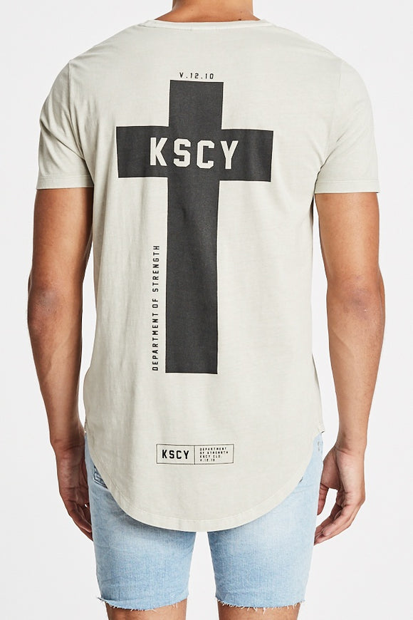 Kiss Chacey MENS DEPARTMENT OF STRENGTH DUAL CURVED TEE - PIGMENT STONE