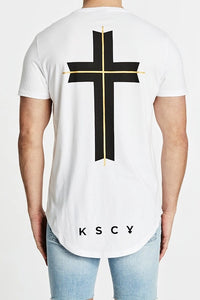 Kiss Chacey MENS ATLANTIC DUAL CURVED HEM TEE - WHITE - Elwood 101