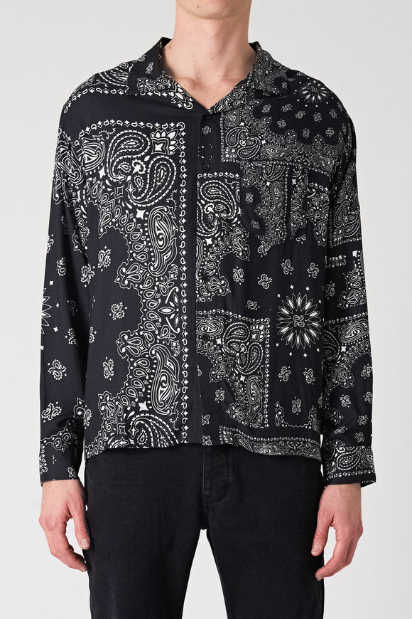 Neuw MENS WAITS LONG SLEEVE PAISLEY SHIRT BLACK PAISLEY - Elwood 101
