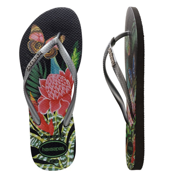 Havaianas SLIM TROPICAL BLACK/GRAPHITE FEMALE THONGS