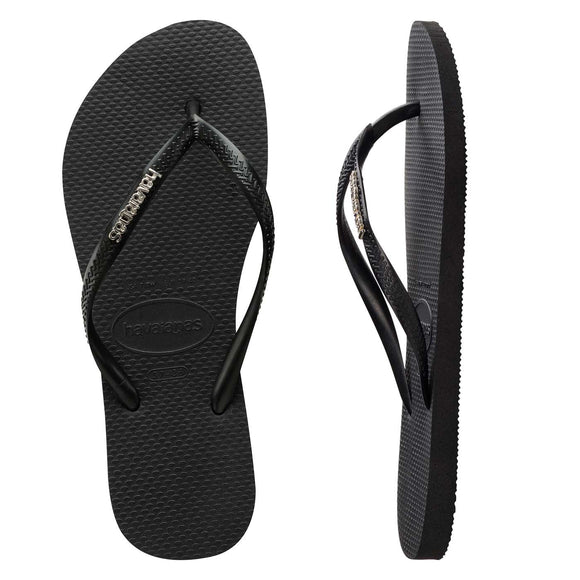Havaianas SLIM METAL LOGO BLACK/SILVER FEMALE