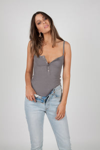 Bayse Brand SPAGHETTI STRAP BUTTON DOWN BODYSUIT GREY