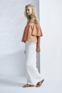 FINDERS KEEPERS BETTER DAYS RUFFLE TOP BURNT PEACH