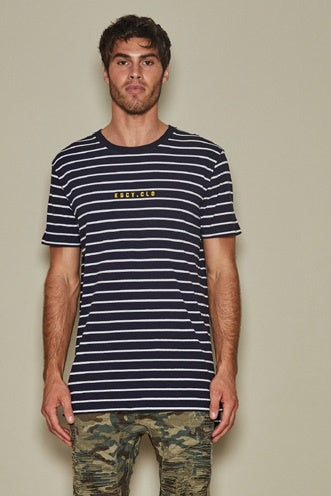 KISS CHACEY TIDAL STEP HEM TEE WHITE NAVY STRIPE
