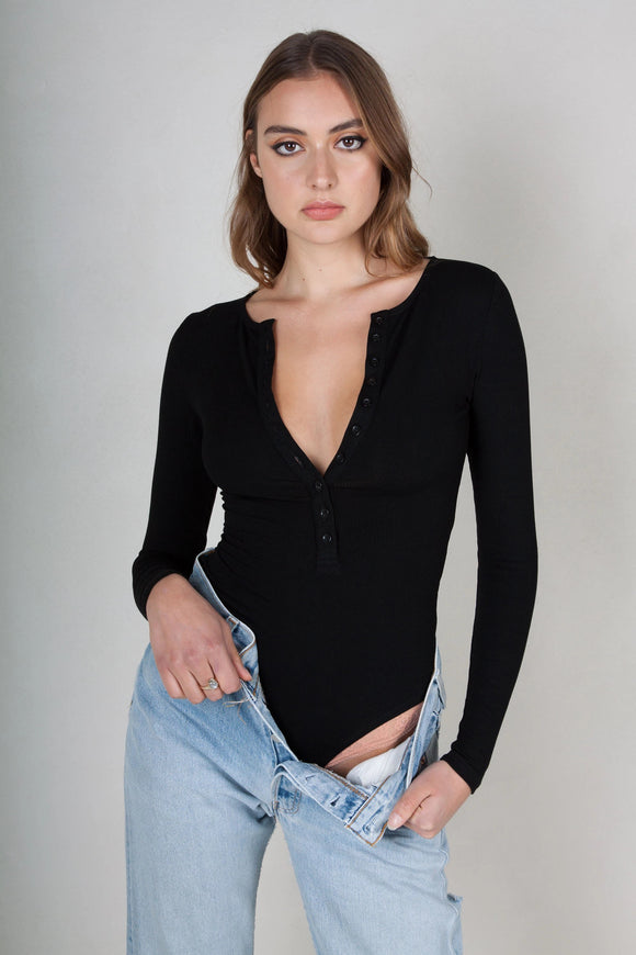 Bayse Brand WOMENS LONG SLEEVE CREW NECK BUTTON DOWN BODYSUIT BLACK