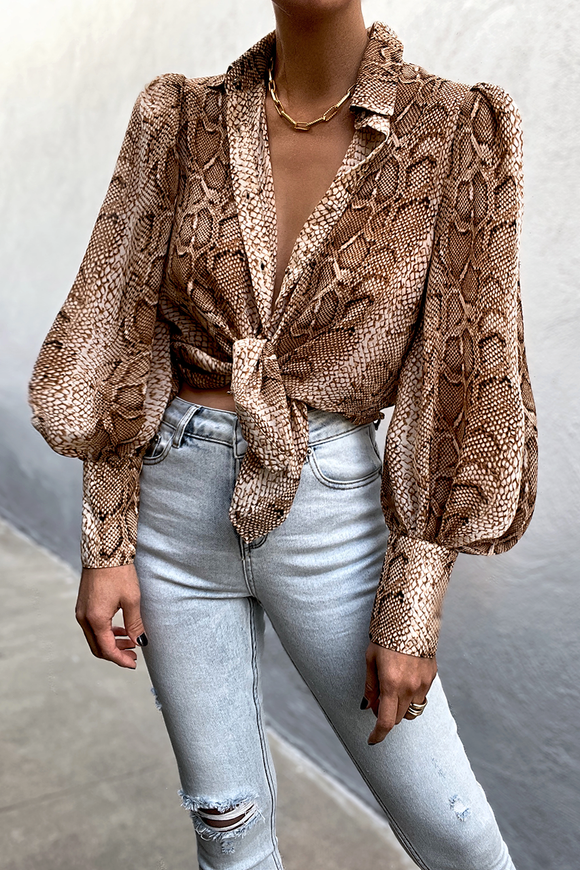 Runaway the Label WOMENS SNAKESKIN SHIRT - SAND - Elwood 101