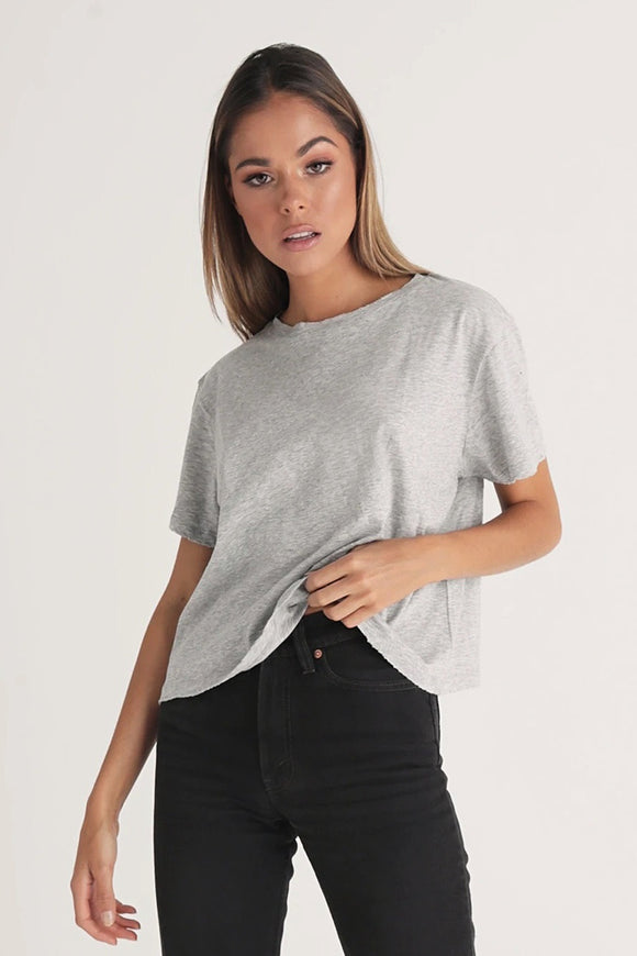 Bayse Brand WOMENS HIGH NECK TEE - GREY MARLE