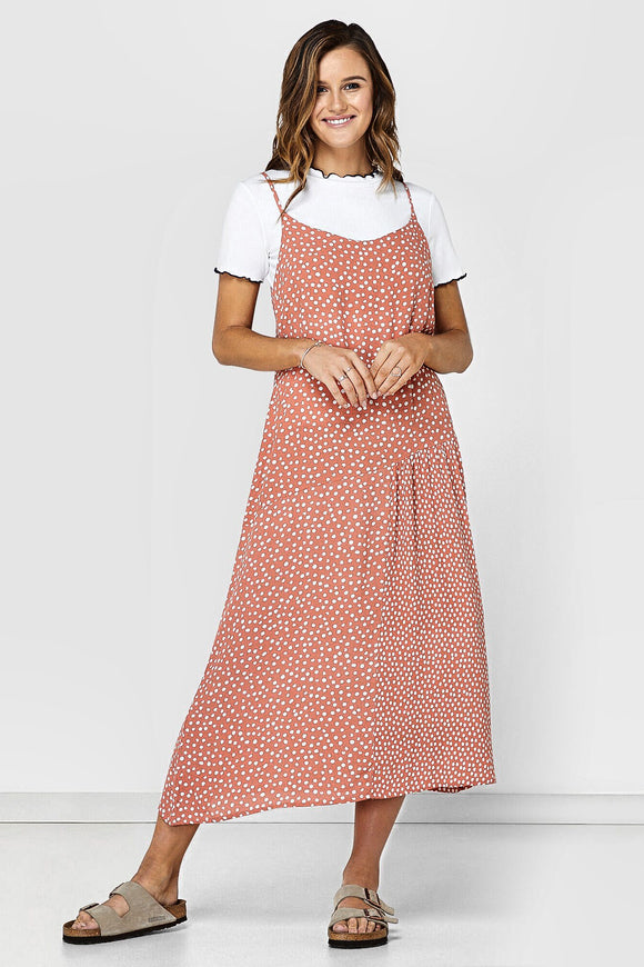 Elwood WOMENS ABBEY MIDI DRESS CLAY SPOT