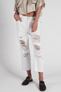 OneTeaspoon WOMENS COCOCASH HOOLIGANS LOW WAIST WHITE RIPPED JEANS - Elwood 101