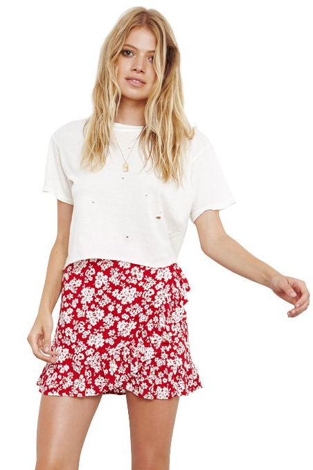 The People Vs WOMENS CAPRI MINI SKIRT REDFIELD