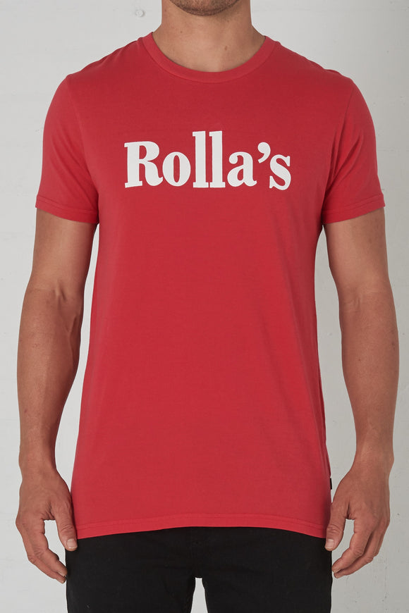 Rollas MENS ROLLA'S REDS BIG LOGO TEE RED VINTAGE WHITE
