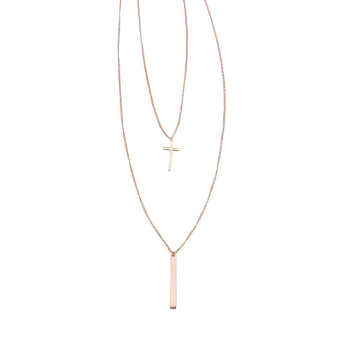 2 LAYER CROSS NECKLACE ROSE GOLD