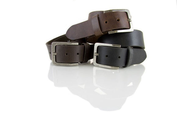 Loop Leather Co MENS BILLY BASICS  LEATHER BELT CHOCOLATE - Elwood 101