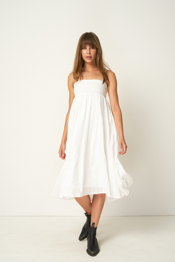PRE ORDER Rue Stiic FONTANA MIDI DRESS WHITE