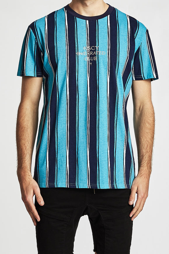 Kiss Chacey MENS OVERRATED CLUB RELAXED FIT TEE SHIRT NAVY-TEAL STRIPES