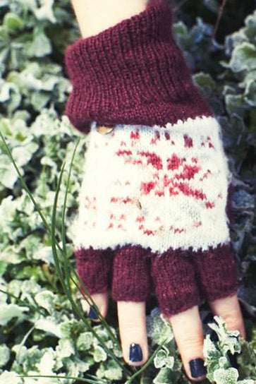 Fallen Broken Street FINGERLESS GLOVES COSY MAROON