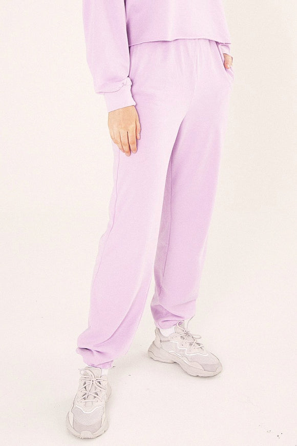 Bayse Brand WOMENS HIGH WAISTED TRACK PANTS - LILAC