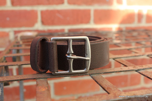 Loop Leather Co MENS STATE ROUTE LEATHER BELT CHOCOLATE - Elwood 101